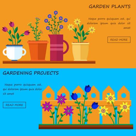 tillage: Tienda de flores. Hola primavera y el verano. Vector ilustraciones planas, iconos y sprites para el juego. Banner para proyectos de trabajo de jardín y jardinería. Vectores