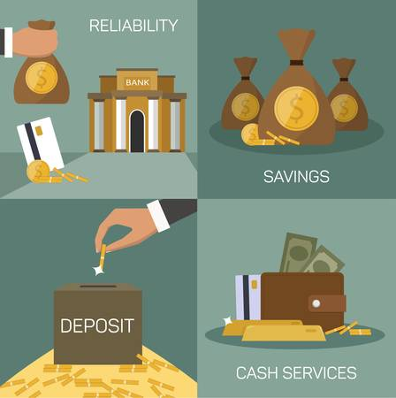 funding: Vector set of banking concepts in flat style - businessmans hand with serve plate - special offer - investment and savings