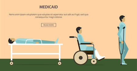 Vector illustration of man injured, leg plaster cast with crutch and in a wheelchair, isolated background. Ilustração
