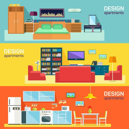 キッチン ベッドとフラットのバナーを家具のリビング ルームのためのホームのインテリア デザイン設定抽象的な分離ベクトル図  イラスト・ベクター素材