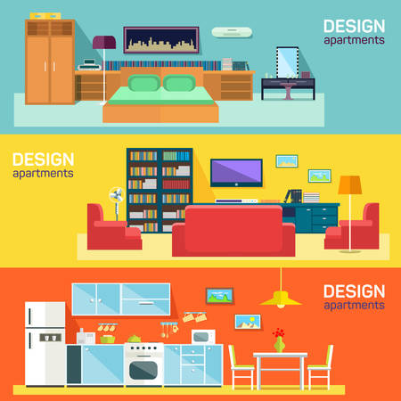 interior design: Home interior design for kitchen bed and sitting rooms furnishing flat banners set abstract isolated vector illustration