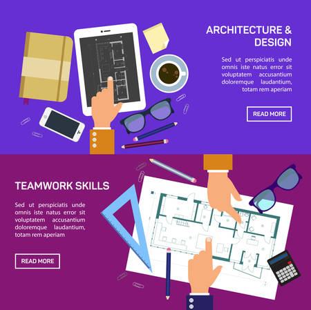 planificacion: Ilustración del vector. Proyecto de arquitectura plana. Trabajo en equipo. Construcción y planificación. Construcción. Lápiz, mano. Arquitectura y diseño.