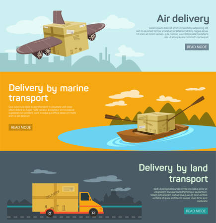 logistics: Logistic concept flat banners set of maritime rail and air transport delivery services abstract isolated vector illustration