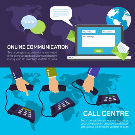 computer center: Técnico del centro de llamadas de apoyo y de servicios de comunicaciones en línea bandera plana conjunto aislado ilustración vectorial