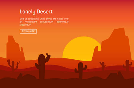 desert cactus: Horizontal banner with lonely desert isolated vector illustration