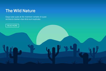 arizona sunset: Horizontal banner with wild nature isolated vector illustration