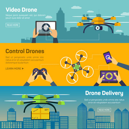 Set of drone banners - shipping, surveillance, control. Drone horizontal banners set with delivery and control elements isolated vector illustration