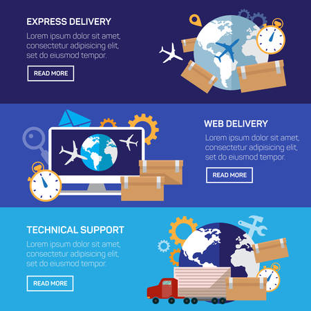 express delivery: Flat vector illustration backgrounds set. International delivery and worldwide postage. Emailing and online shopping. Envelope and package. Illustration