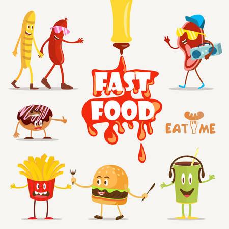 Fast food, voedsel grappig, cartoon fast food, set Vector Illustratie. Fast food. Platte design. Stock Illustratie