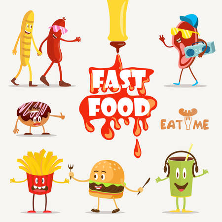 Fast food, food funny, cartoon fast food, set Vector Illustration. Fast food. Flat design.