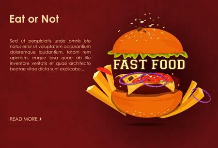 meat food: Fast food restaurant poster with beaf meat hamburger emblem vector illustration