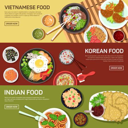 étel: Ázsiai utcai élelmiszer internetes banner, thai ételek, japán étel, kínai ételek lapos kialakítás