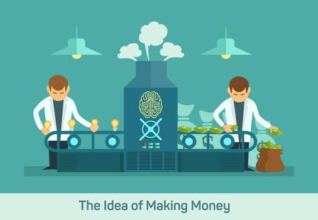 fliesband: Wirtschaftsf�rderer Design-Konzept mit Ideen Geld Fabrik kreative Maschine flachen Icons isoliert Vektor-Illustration