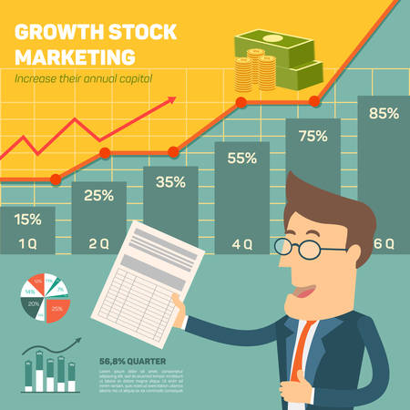 initial public offerings: Price movement. Profit graph for diagram. Electronic stock numbers. Profit gain. Business stock exchange. Flat icon modern design style concept Illustration