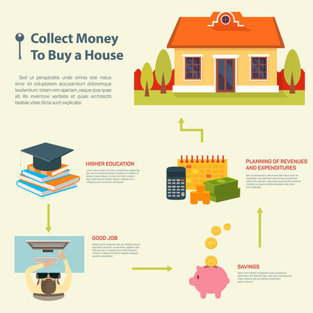 property investment: Business Property Concept. Collect money to buy a house. Vector illustration. Can be used for workflow layout, banner, diagram, number options, web design, infographics.
