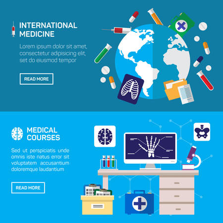 courses: International medicine and medical courses horizontal banner set with medical diagnostic flat elements isolated vector illustration Illustration