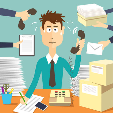 tired businessman: Man secretary hard working. Busy businessman. Businessman in office, worker vector illustration