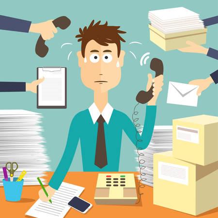 Man secretary hard working. Busy businessman. Businessman in office, worker vector illustration