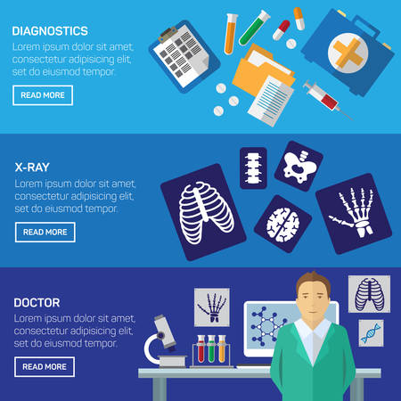 gastroenterology: Ultrasound and x-ray horizontal banner set with medical diagnostic flat elements isolated vector illustration