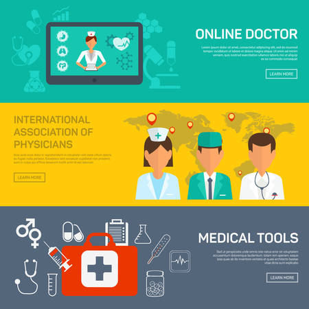 Online medical diagnosis and treatment. Flat design concepts for web banners and printed materials and promotional materials. Vektorové ilustrace