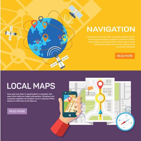 web application: Vector illustration. Flat backgrounds set. Navigation and traveling. Map pointer and location finding. Web application. Illustration