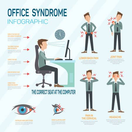 men at work sign: Infographic office syndrome Template Design . Concept Vector illustration Illustration
