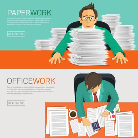 articulos de oficina: Muy ocupados de negocios que trabajan con el papeleo en su escritorio en la oficina. Diseño plano. Vectores