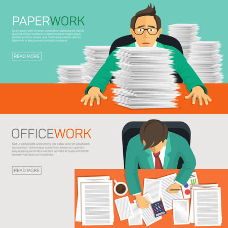 messy: Very busy businessman working with paperwork on her desk at office. Flat design. Illustration