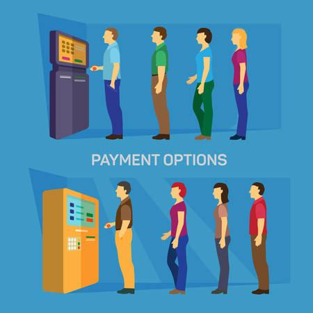 fila de personas: Las opciones de pago bancarios dinero finanzas vectorial infografía plana. Línea de jóvenes hombres modernos las mujeres ocasionales de espera de cajeros automáticos y terminales. Colección de la gente creativa.