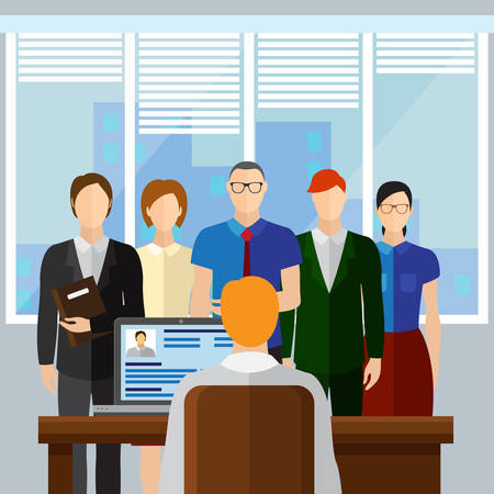 sexo femenino: Curriculum Vitae Reclutamiento Candidato Posición Trabajo, Manos Mantenga CV Perfil Elija entre Grupo de hombres de negocios contratar Entrevista Ilustración Vector