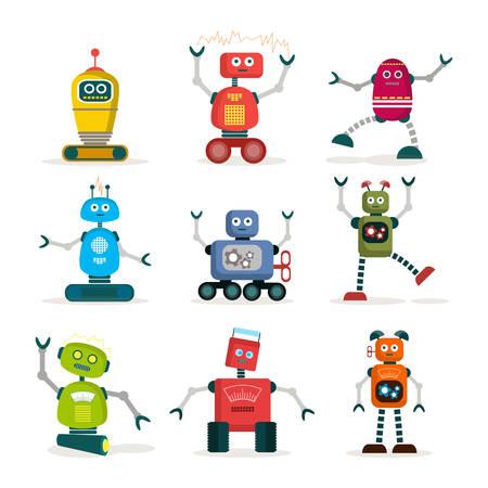robot: Juego de robots coloridos iconos planos, ilustraci�n vectorial