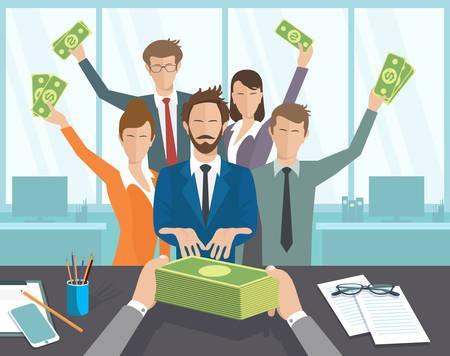 pagando: Ilustración del vector, temas jefe, grupos de personas a pagar. El gerente de la oficina o los trabajadores reciben un salario mensual. Vectores