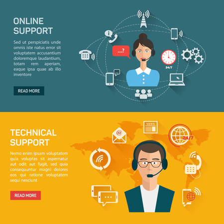 Vector illustration. Online support concept background. Contact us. Illustration