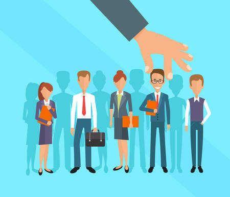 candidate: Business hand picking up a businessman. Human Resources concept, vector