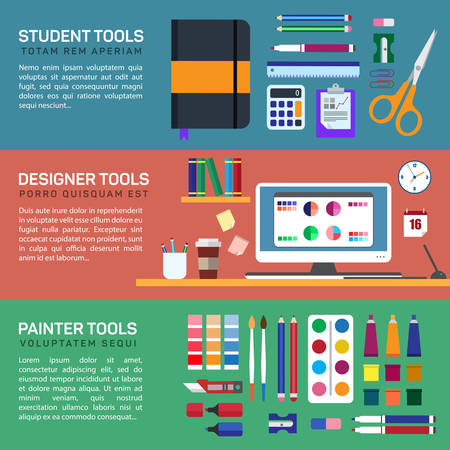 inc: Painter and designer tools in workspace or boxes and stationery flat color horizontal banner set isolated vector illustration