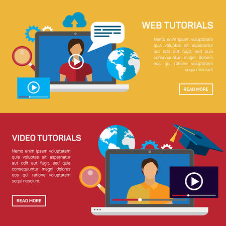 capacitaciones: Educación plana, formación, tutorial en línea, el concepto de e-learning. Vector icono banners plantilla de conjunto. Ilustración Web. Profesor por la pizarra, el libro del montón, documento portátil. Página web infografías elementos. Vectores