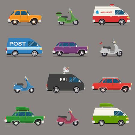 retro truck: Transportation and Automotive Symbol Vector Set. Set of motor vehicle icons, flat design.