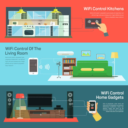 coverage: Concept of internet globalization. Technology wireless control on kitchen, control light room, control home gadgets, coverage space signal illustration Illustration