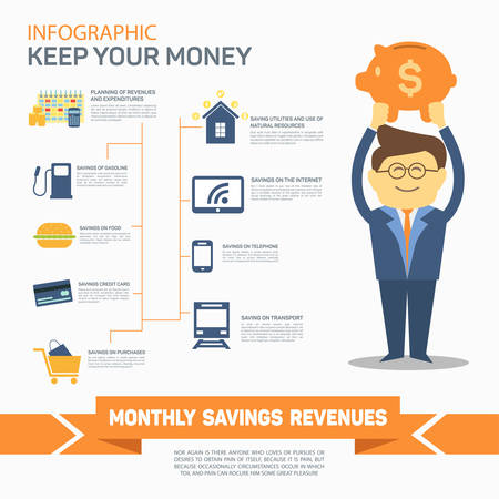 cost savings: Monthly expenses template. Vector illustration. Can be used for workflow layout, banner, diagram, number options, web design, infographics, timeline.
