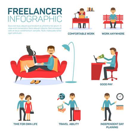 freelancer: Freelancer infographic elements, vector illustration eps 10