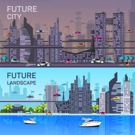 Conjunto de imágenes del héroe de sitios web en el estilo de diseño plano con fines de desarrollo web. las plantillas ocupadas paisaje urbano con edificios modernos, las carreteras, el tráfico futurista y los árboles del parque. Día y noche conceptos.