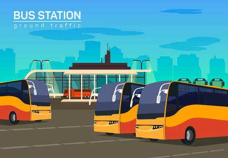 Bus station, vector flat background illustration, eps 10