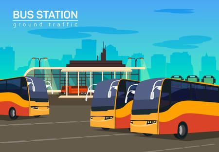 mujer con maleta: estación de autobuses, de vectores de fondo plano ilustración, eps 10