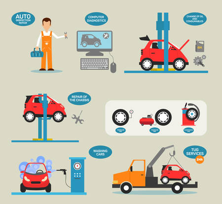 mantenimiento: Conceptos de dise�o planas para el servicio de coche, reparaciones de coches, servicio de neum�ticos, el diagn�stico de autom�viles. Conceptos para web banners y materiales promocionales. Vectores
