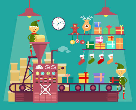 factory line: Elves make Christmas and New Year gifts, vetor illustration isolated on background, factory for the production of gifts