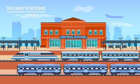 Railway station, vector flat background illustration eps 10