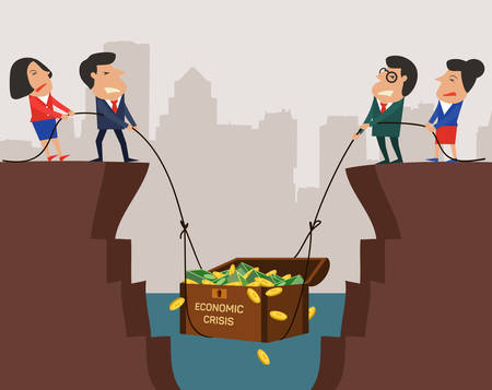 economics: Two businessman and two businesswoman, professional manager with subordinate worker try to pull up chest full of money from big hole, metaphor to lift up economic crisis. Simple design with copyspace, you can write your own text. Illustration
