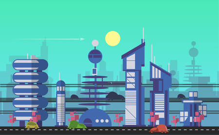 Website hero images in flat design style for web development purposes. Busy urban cityscape templates with modern buildings, roads, futuristic traffic and park trees.