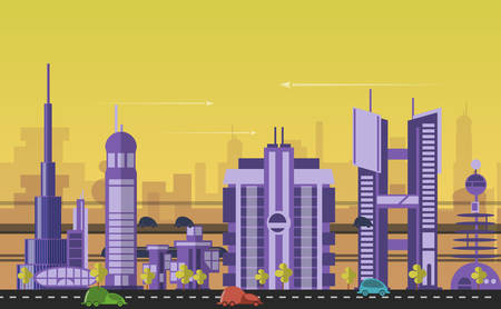 cityscape: Website hero images in flat design style for web development purposes. Busy urban cityscape templates with modern buildings, roads, futuristic traffic and park trees.