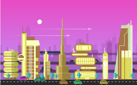 city landscape: Website hero images in flat design style for web development purposes. Busy urban cityscape templates with modern buildings, roads, futuristic traffic and park trees.